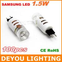 Best selling 100pcs High quality 1.5W Samsung G4 LED Light bulb 12V AC CE RoHS Crystal Light Bulb Indoor Lighting free shipping