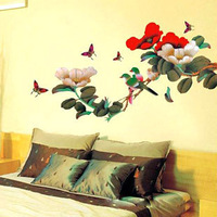Free shipping 2PCS/LOT MIXED Designs Peony Flower And Bird Wall House Sticker for Living Room/ Bedroom TV sofa