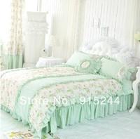 light green flower Bedding 4pcs set cotton bedding duvet covers set King Queen ruffle bedskirt  fresh bamboo fiber bed bedcloth