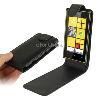 High Quality Pure Color Vertical Flip Leather Case for Nokia Lumia 520 (Black)