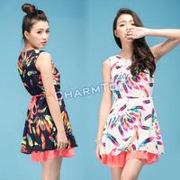 Hot Selling New 2014 Women Clothing Sleeveless Feather Print Summer Chiffon Casual Sundress Tunic Mini Dress Free Shipping 0417