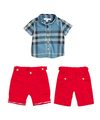 Kids Summer plaid Clothes T Shirt And Cotton Pants 3 Colors As the Picture Baby Boys Clothes Infant Easter CS30626-19R^^EI