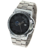 Wholesale Free Shipping BARIHO Men's Watch with Calendar Numbers and Strips Hours Marks Round Dial Steel Band - Silver and Black