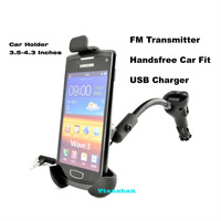 Car Smart Phone Holder Mount with FM Transmitter Handsfree Car Kit USB Charger for iphone/Samung/HTC ONE X/Blackberry/Sony GPS