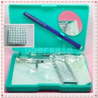 Free shipping Durable Strong Steel Ear Body Piercing Gun 98pcs Studs Machine Kit Set