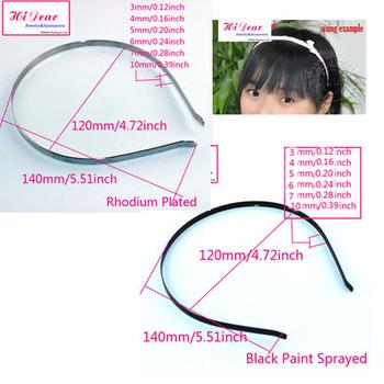 3/4/5/6/7/10mm Width Rhodium/Black Color Stainless Steel Hoop Alloy Metal DIY Hairband/Headband/Hair Band Blank  Accessories