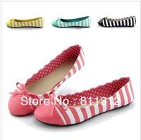 Stripe polka dot single shoes sweet ol comfortable ballet flat heel flat candy color