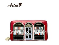 Artmi 2013 patchwork, fashion color, long design and  multi card clutch wallet, free shipping
