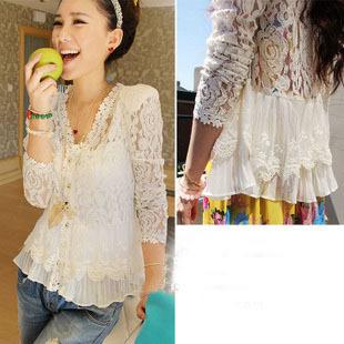 2014Fashion skinny shoulder pad precious mosaic lace shirt cardigan sunscreen shirt air-conditioning Knitting coat free shipping