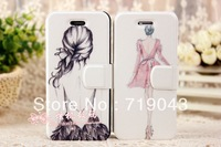New Aesthetic elegant Figures Illustration Pretty Lady for apple phone case for iphone 4 4s protective Leather Stand Flip cover