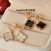 FREE SHIPPING~New Jewelry Titanium 18k Rose Gold Plated Lucky White&Black Hollow Flower Earring with gift box