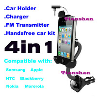 FM TRANSMITTER CAR HOLDER CHARGER HANDS FREE KIT FOR IPHONE 4S 4G 5 SAMSUNG S3 S2 S4 GALAXY  NOTE2 HTC ONE X+ S GPS ACCESSORIES