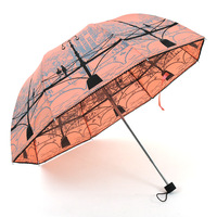 New 2014 High Selling Fashion Princess Folding Rainbow The Women's Umbrella Protection  Rain Umbrellas Novelty Items