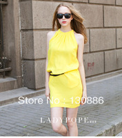 2014 new fashion cheap brand women sexy club dresses summer casual lace o-neck Backless Mini Dresses with belt plus size
