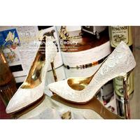Fashion Women's Pumps Drop Shipping Plus Size 41 Elegant Red Bottom White Lace Wedding High Heel Shoes