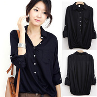 2013 Blouses  spring  long-sleeve shirt casual S-XXL size slim Women's Shirts 2808