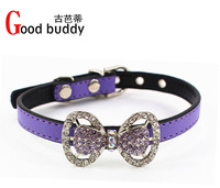 Fashion colorful crystal bling bowknot pet collars,fashion dog collar,bling crystal collars for dogs