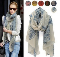 2013 fashion Totem female Korean version of the new chiffon and cotton flower scarf shawl clothing leopard ,Wholesale !