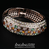 B041 Amazing! 18KRGP Gold Plated Multicolor Austrian Crystals Paved Cuff Bracelet   FREE SHIPPING