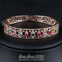 B043 Rose Gold Plated Colorful Austrian Crystals Stud hollowed-out Cuff Bangle Bracelet  FREE SHIPPING