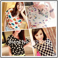 Free Shipping NEW CHIC! Hot Sale Sexy Women Colorful Birds Chiffon T Shirt Batwing Loose Blouse Casual Tee Tops
