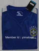 blue shirts short sleeves soccer football jersey Brazil away kit for the 2013 confederations cup
