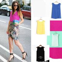 Lady New Fashion 2013 Tank Blouse One Pocket Chiffon Tops Women Candy Color Shirt Black Blue Yellow Pink White Drop Shipping Hot