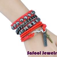 VB052(Min.Order $15)Wholesale 2014 Men Women Bracelets Punk Style Vintage Leather Bracelet joker Bracelet Gifts High Quality