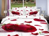 Romantic Red Rose Petal 3d bedding set queen size 100% Floral print duvet/quilt cover bed sheet bedclothes cotton home textile
