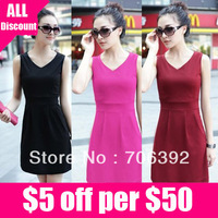 Free shipping women's summer 2013 fashion women clothes elegant solid color dress cute vest t shirt Vneck Cotton thread 1pcs/lot