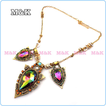 Vintage Luxury Geometry Coloured Glaze Pendants Chain Necklaces,Big Glass Rhinestone Choker Statement Necklace,Fashion Jewelry
