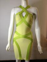 Free Shipping 2014 New Fashion Slim Sexy Bandage Dress Evening Fluorescent Green Cross Strap Short Cocktail Dress Size XS S M L