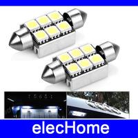 Car 36mm 6 LEDs SMD 5050 White Light Error Free Festoon Dome Lamp Bulb Bulds Free Shipping