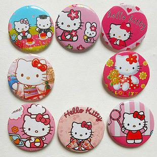 Free Shipping Wholesale Photo Color/Novelty Cartoon Backpack Accessories/Hello Kitty Badges/Kid Gift Pin Badge 4.5cm 48pcs/lot(China (Mainland))