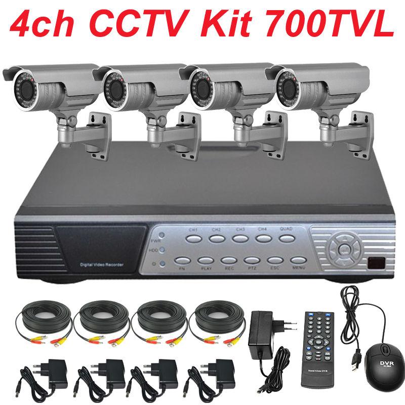 Best sony 700TVL zoom lens security video camera 4ch channel cctv kit whole surveillance alarm cctv system install DVR recorder(China (Mainland))