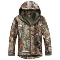 Leaf Camo Windbreaker Jacket Military Outdoor Sports Jacket Soft Hard Shell Windproof Jacket Coat