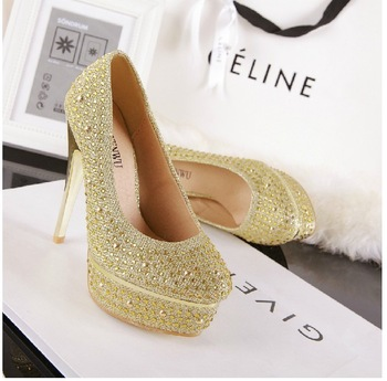 Free shipping  2013 big star T station serves the Paris waterproof Taiwan Rhinestone Crystal Sandals size(35-40) Gold Silver