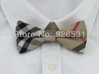 England style tie brownish black ash lattice man all-match polyester tie dress preferred  Free Shipping