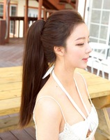 Real hair long straight ponytail claw clip ponytail claw clip straight hair wig real hair pony tail.