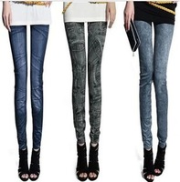 Hot wholesale autumn and winter cotton women's legging faux denim printed stretch female fashion denim Leggings Free Shipping