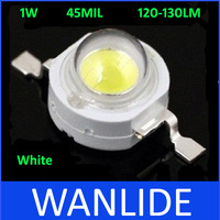 White LED Lamp High Power 1W LED Lamp LED 120-130LM 45MIL 100pcs/lot free shipping