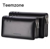Teemzone High Quality Double zipper men brand handbags genuine leather bag Business bolsa men clutch bags casual hand bag bolsos