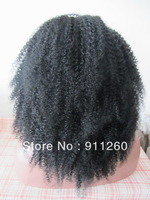 Free Shipping 150 Density indian remy Human Hair afro Glueless Lace Front Wig For African Americans