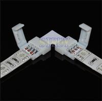 "FREE SHIPPING! 10mm 4pin for 5050 RGB Strip light LED Connector, ""L"" NO welding Strip Connector For Strip Jointing"