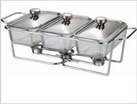 three sink glass buffet dish chafing pot