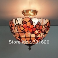 E27 110-240V Free Shipping 10 Inch Modern Natural Sea Shell Tiffany Style Ceiling Light With Floral Pattern For Hotel Lobby