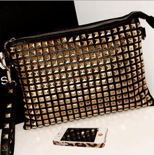 Fashion Women Wallets Punk studs day clutch wallet women leather bag purses ladies' evening bag handbags  Free Shipping