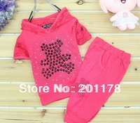 304 free shipment 3sets/lot  bear Rhinestone t-shirt +pants 2pcs girl summer clothing set lace suit free shipping