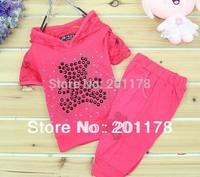 clothing sets 304 free shipment 3sets/lot bear rhinestone t-shirt +pants 2pcs girl summer clothing set lace suit free shipping