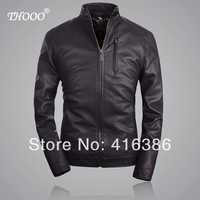 THOOO Brands new top HOT GENTLEMEN'S Black brown pu Faux  leather classic Motorcycle jacket Coat  SIZE M L XL 2XL 3XL 4XL 5XL